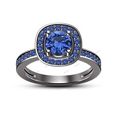 0.90 Ct 925 Silver 14K Black Gold FN Rd & Blue Sapphire Women's Engagement Ring #Affoin8 #SolitairewithAccentsEngagementRing