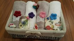 Towels soaps in a basket. Nice gift for mothers day