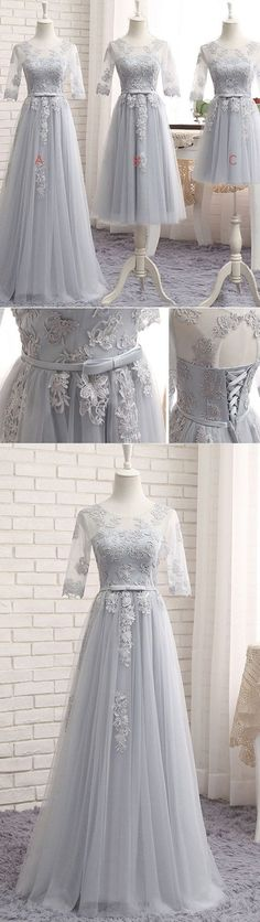 gray tulle lace long prom dress, gray bridesmaid