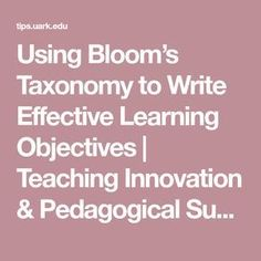 Using Bloom's Taxonomy to Write Effective Learning Objectives | Teaching Innovation & Pedagogical Support
