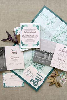 Fold-out poster vintage Bali map custom wedding invitation booklet    Anticipate Invitations