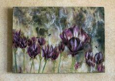 Original encaustic painting  purple crocus by EncausticsbyGretchen