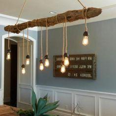 mooie drijfhout lamp met touwen