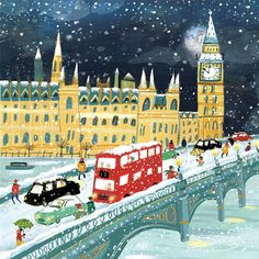 The Art Group 'City Life' Cards - Clair Rossiter illustration Charity Christmas Cards, Diy Christmas Cards, Noel Christmas, Vintage Christmas, Modern Christmas, Christmas Ideas, Winter Illustration, Christmas Illustration, Cute Illustration