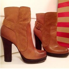 """Jessica Simpson Leather Stacked Heel Boot 7.5 Jessica Simpson 'Callian' Leather & Suede Boot in Dark Camel/Tan. 4 1/2"""" Stacked Heel. 1/2"""" Platform. 7 1/2"""" Shaft height. The multi-textured suede and leather Callian ankle boot features a pull-on style, & adjustable ankle buckle for an ideal fit. Substantial stacked heel & platform. Lightly padded footbed. Rubber outsole for grip while walking. Fits 7-7.5. Love these, however very uncomfortable for me. Worn approx 4x's but in excellent…"""