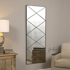 60 Thin Metal Frame Accented with Diagonal Strips Decorative Antiqued Wall Mirror *** Want additional info? Click on the image.