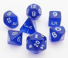 Mini Translucent Dice (Blue) RPG role playing game dice