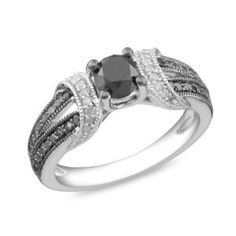 Amour Sterling Silver Round Cut Diamond Ring