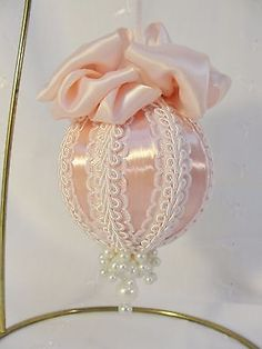 Handmade-Christmas-Tree-Ornament-White-Pink-Trim-amp-Satin-Ribbon-Bows-amp-Pearls