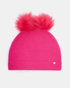 69f853e4e24 Ted Baker Double pom-pom hat Bright Pink