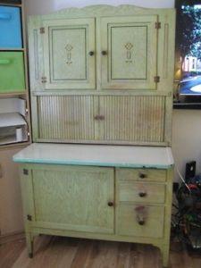 Art Deco Oak Hoosier Cabinet Green Cream