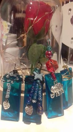 Collection of glass necklaces by Ruth O'Hagan Glass Necklace, Christmas Bulbs, Jewelery, Elephant, Gift Wrapping, Necklaces, Holiday Decor, Blue, Collection