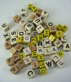 wood bowl Filler  | 70 Boggle Game Wood Letter Cubes Mixed Media Altered Art ...