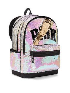 NEW Pink Sequence Campus Backpack Faux Leather Standard Size