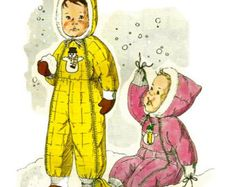 Kwik Sew 860 1970s Designer Toddlers Hooded Snowsuit Pattern Boys Girls Childs Vintage Sewing Pattern Size 1 - 2 - 3 UNCUT