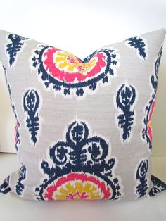 THROW PILLOWS 24x24 Navy Blue Denim Throw Pillow Covers 24 x 24 Euro Shams Pink Yellow Ikat Decorative Throw pillows missoni