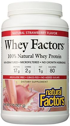 Natural Factors - Whey Factors, 100% Natural Whey Protein, Strawberry, 17 Servings (12 oz) -- Check out the image by visiting the link.