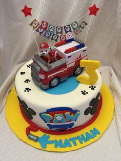 One level round cake decorated with fondant and Paw Patrol logos Paw Patrol Birthday Cake, 4th Birthday Cakes, Paw Patrol Torte, Paw Patrol Cupcakes, Cake Disney, Snowflake Wedding Cake, Mad Hatter Cake, Funny Wedding Cake Toppers, Cake Decorating With Fondant