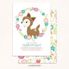 Floral Deer Birthday Invitation / Floral Woodland Invitation /