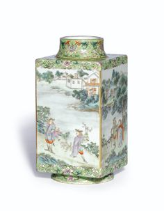 A FAMILLE-ROSE 'EUROPEAN SUBJECT' VASE QING DYNASTY, 18TH CENTURY