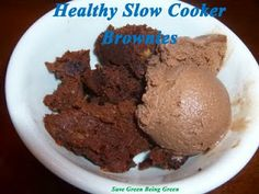 Slow Cooker Saturday: Healthy Peanut Butter Brownies Recipe #slowcooker #crockpot #recipe