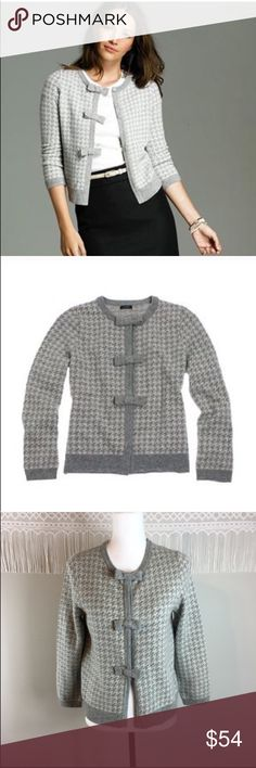 J.Crew Houndstooth Bow-Button Cardigan J.Crew Houndstooth Bow-Button Cardigan. Size medium. Approximate measurements flat laid are 22' long, 18' bust, and 20 sleeves from collar. NWT and no major flaws. ❌I do not Trade  Or model Posh Transactions ONLY J. Crew Sweaters Cardigans