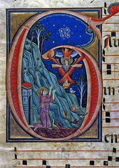 Le stimmate di San Francesco, fine del XIII sec., foglio di antifonario…