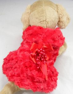 Clearance sale PET PRODUCTS DOG CLOTHES WINTER DOUBLE LAYER WITH Brooch THICK VELVET RED DRESS PUPPY CLOTHING