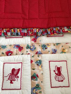 Baby Quilt baby blanket red and beige ruffled quilt by ohSEWcuddly