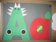 """Aa"" Letter of the week art project: alligator & apple"