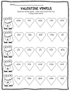identifying long vowels with Valentine Vowels