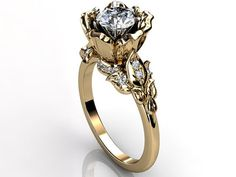 14k yellow gold diamond unusual unique flower engagement ring, bridal ring, wedding ring, anniversary ring by Jewelice