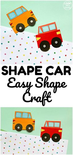 This easy and cute shape car craft is a simple project to make with kids! Great for reinforcing basic geometry too! Preschool Age, Preschool Learning, Learning Activities, Fun Arts And Crafts, Easy Crafts For Kids, Teaching Calendar, Basic Geometry, Easy Shape, Learning Shapes