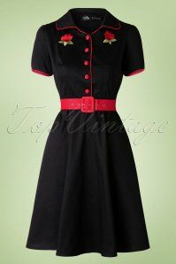 Dolly Do Sherry Black Red Roses Swing Dress 102 10 17231 20160111 0010W
