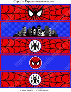 Spiderman INSTANT Printable Water Bottle Labels Birthday Party DIY amazing…