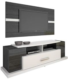 Rack Bancada Domani Com Painel - P/ Tv Lcd Led   Suporte - $459.00 Tv Cabinet Design, Tv Unit Design, Tv Wall Design, House Design, Modern Tv Units, Modern Tv Wall, Muebles Rack Tv, Tv Wall Decor, Wall Tv