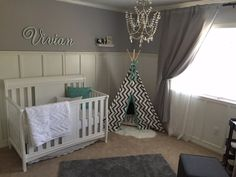 Beautiful Gray Nursery with a touch of glam chandelier - Project Nursery