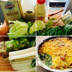 Cheesy Green Bake - butter, onion, garlic, lettuce, broccoli, silverbeet, cream, salt, pepper, cheese...
