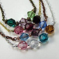 Birthstone Necklace, Made to Order Swarovski Crystal Birthstone Necklace for Mother, Grandmother, Godmother, Aunt, Anniversary. $30.00, via Etsy.