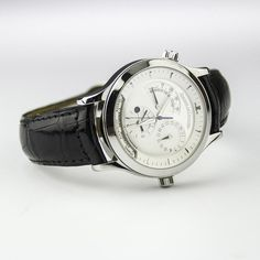 Now: $7,980.00  Retail: $11,900.00 Never Worn, Mint Condition Jaeger LeCoultre Master Geographic Crafted In Stainless Steel And Graced With A Silver Index Dial And 3 Silver Sub Dials.