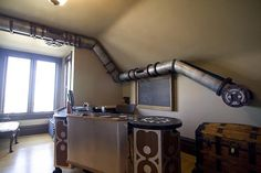 Unique Cat Tunnel In Steampunk Style Right At A Home Office - DigsDigs Casa Steampunk, Steampunk Cat, Steampunk Shelves, Style Steampunk, Office Cat, Home Office, Pub Vintage, House Ideas, Cat Tunnel
