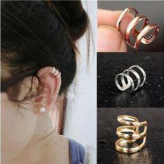 Unisex Fashion Jewelry Punk Rock Ear Clip Cuff Wrap No piercing-Clip On Earrings Ear Cuffs, Fashion Necklace, Fashion Jewelry, Women Jewelry, Cuff Earrings, Clip On Earrings, Jewellery Earrings, Jewellery Shops, Designer Jewellery