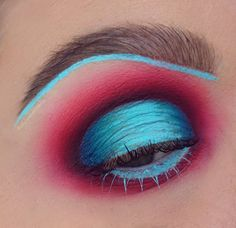 The makeup artistry in this piece is incredible! Katina from @doyouevenblend created this avant garde piece using bright blue eyeshadow, and red pigments blended to perfection. More: http://blog.furlesscosmetics.com/katina-k/