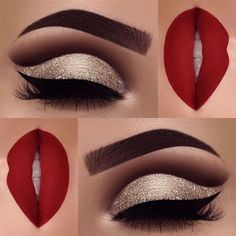 Excellent Red matte lips and gold glitter eye makeup 2018 – LadyStyle The post Red matte lips and gold glitter eye makeup 2018 – LadyStyle… appeared first on Fashion . Glitter Eye Makeup, Lip Makeup, Red Eyeshadow Makeup, Makeup Eyebrows, Hair And Makeup, Red Eyebrows, Glitter Eyebrows, Sexy Eye Makeup, Red Eyeliner