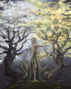 Yavanna with the Two Trees, Laurelin and Telperion