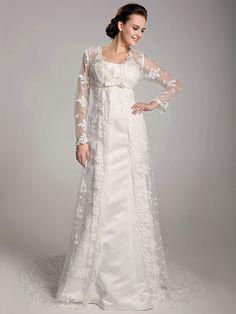 Lan Ting Sheath/Column Plus Sizes Wedding Dress - Ivory Sweep/Brush Train Square Satin/Lace - USD $ 199.99