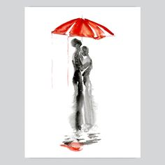 This premium quality Under Umbrella watercolor print is copy of original hand-drawn watercolor painting. Vivid colors, elegant appearance, style, simplicity, full detail. We use archival paper, EPSON Pro printers and high-quality professional inks. Each item is custom trimmed by hand and shipped within 1-2 business days of your order via certified post, with a tracking number info for your …