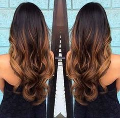 Balayage and ombre with caramel colors. I think this goes for all of us ladies, we love when our hair looks beautiful These chocolate and caramel balayage colors are perfect for . Long Ombre Hair, Ombre Hair Color, Brown Hair Colors, Hair Patterns, Hair Shades, Brunette Hair, Brunette Ombre, Brunette Color, Brunette Beauty