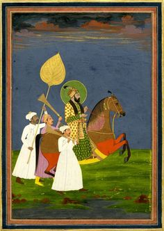 Farrúkh Síyár on horseback with attendants. On paper. According to reg' Emperor Muḥammad Sháh. Mughal India C. Mughal Miniature Paintings, Mughal Paintings, Islamic Paintings, Indian Paintings, Mini Paintings, Historical Art, Horse Art, Ancient Art, Portrait Art