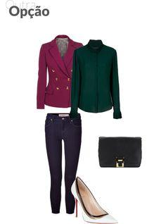 scarpin branco + calça jeans. O segredo aqui é complementar as duas peças com outras coloridas, como esta blusa verde e o casaco uva (ótima dupla para o inverno). A bolsa pode ser em um tom neutro, mesmo porque já há bastante informação.